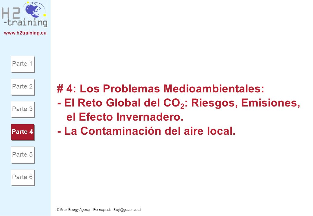 www.h2training.eu © Graz Energy Agency - For requests: Bleyl@grazer-ea.at # 4: Los Problemas Medioambientales: - El Reto Global del CO 2 : Riesgos, Em