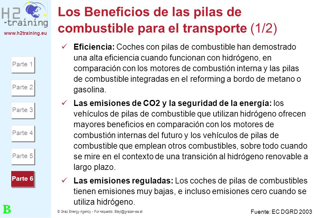 www.h2training.eu © Graz Energy Agency - For requests: Bleyl@grazer-ea.at Los Beneficios de las pilas de combustible para el transporte (1/2) Eficienc