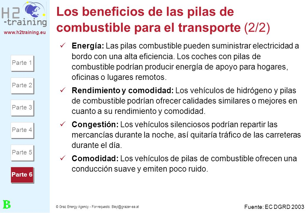 www.h2training.eu © Graz Energy Agency - For requests: Bleyl@grazer-ea.at Los beneficios de las pilas de combustible para el transporte (2/2) Energía: