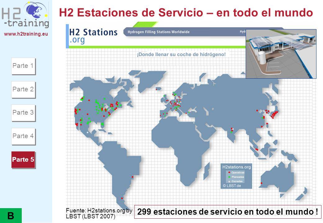 www.h2training.eu H2 Estaciones de Servicio – en todo el mundo Parte 1 Parte 2 Parte 3 Parte 4 Parte 5 299 estaciones de servicio en todo el mundo ! F