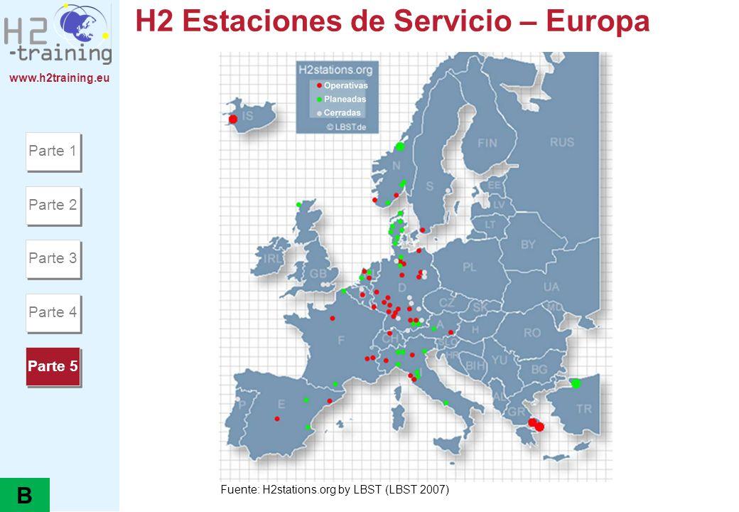 www.h2training.eu H2 Estaciones de Servicio – Europa Parte 1 Parte 2 Parte 3 Parte 4 Parte 5 Fuente: H2stations.org by LBST (LBST 2007) B