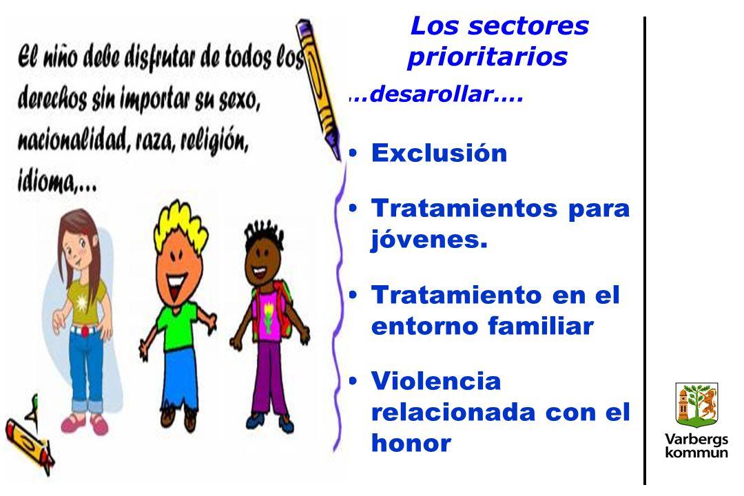 Los sectores prioritarios …desarollar…. Exclusión Tratamientos para jóvenes.