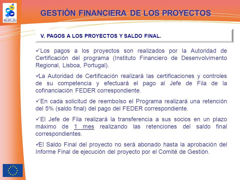 GESTIÓN FINANCIERA DE LOS PROYECTOS V. PAGOS A LOS PROYECTOS Y SALDO FINAL. Los pagos a los proyectos son realizados por la Autoridad de Certificación