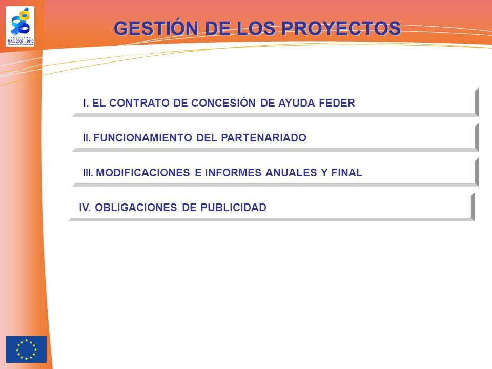 GESTIÓN DE LOS PROYECTOS I. EL CONTRATO DE CONCESIÓN DE AYUDA FEDER II. FUNCIONAMIENTO DEL PARTENARIADO III. MODIFICACIONES E INFORMES ANUALES Y FINAL