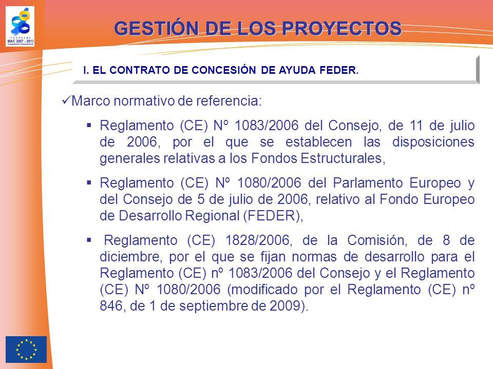 GESTIÓN DE LOS PROYECTOS I. EL CONTRATO DE CONCESIÓN DE AYUDA FEDER. Marco normativo de referencia: Reglamento (CE) Nº 1083/2006 del Consejo, de 11 de