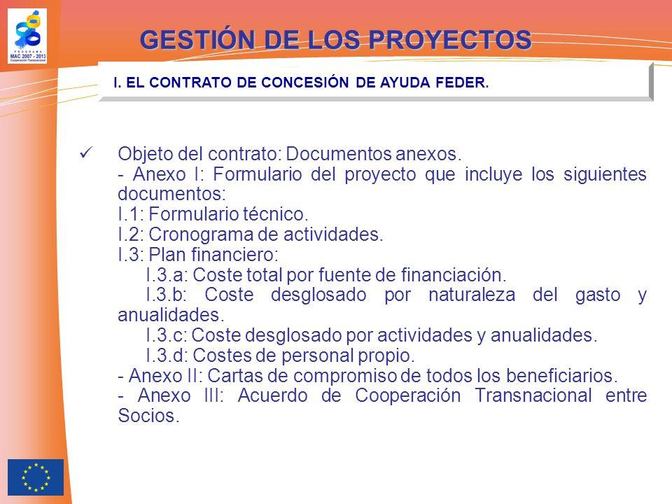 Objeto del contrato: Documentos anexos. - Anexo I: Formulario del proyecto que incluye los siguientes documentos: I.1: Formulario técnico. I.2: Cronog
