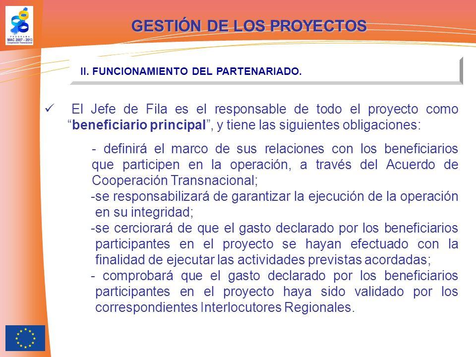 GESTIÓN DE LOS PROYECTOS II. FUNCIONAMIENTO DEL PARTENARIADO.