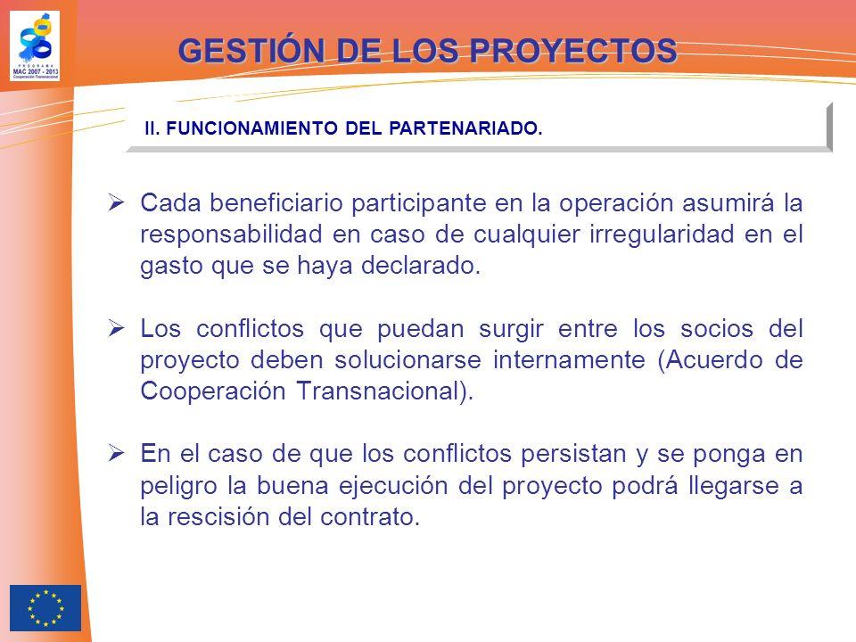 Cada beneficiario participante en la operación asumirá la responsabilidad en caso de cualquier irregularidad en el gasto que se haya declarado.