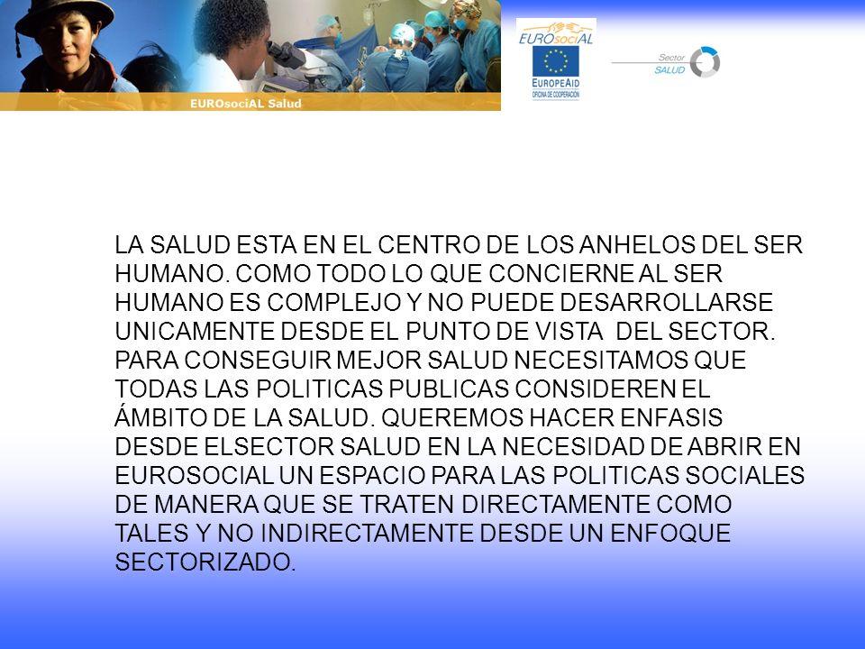 LA SALUD ESTA EN EL CENTRO DE LOS ANHELOS DEL SER HUMANO. COMO TODO LO QUE CONCIERNE AL SER HUMANO ES COMPLEJO Y NO PUEDE DESARROLLARSE UNICAMENTE DES