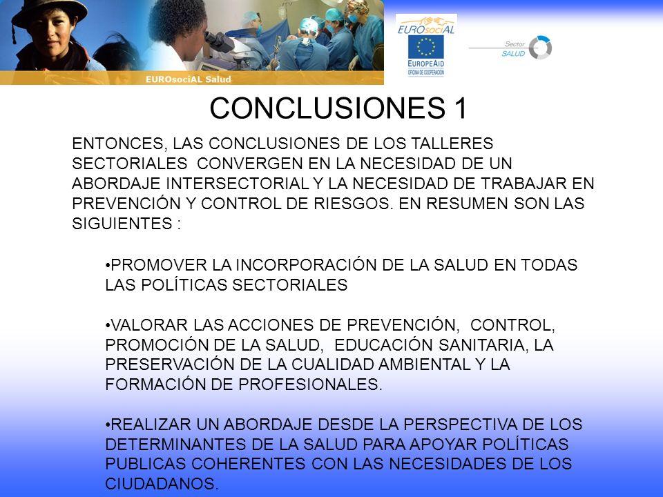 CONCLUSIONES 1 ENTONCES, LAS CONCLUSIONES DE LOS TALLERES SECTORIALES CONVERGEN EN LA NECESIDAD DE UN ABORDAJE INTERSECTORIAL Y LA NECESIDAD DE TRABAJ