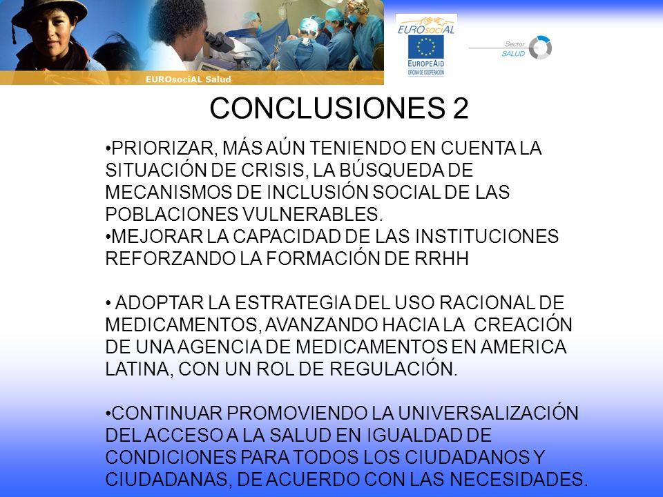 CONCLUSIONES 2 PRIORIZAR, MÁS AÚN TENIENDO EN CUENTA LA SITUACIÓN DE CRISIS, LA BÚSQUEDA DE MECANISMOS DE INCLUSIÓN SOCIAL DE LAS POBLACIONES VULNERAB