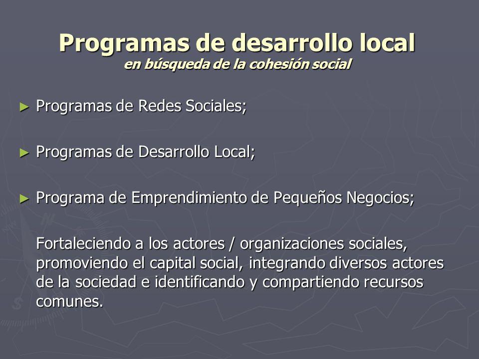 Programas de desarrollo local en búsqueda de la cohesión social Programas de Redes Sociales; Programas de Redes Sociales; Programas de Desarrollo Loca