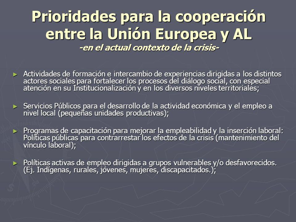 Prioridades para la cooperación entre la Unión Europea y AL Fortalecimiento de los sistemas de protección social: Coordinación de sistemas contributivos y no contributivos (financiamiento); Fortalecimiento de los sistemas de protección social: Coordinación de sistemas contributivos y no contributivos (financiamiento); Programas de apoyo a las MIPYMES y cooperativas con enfoque territorial.