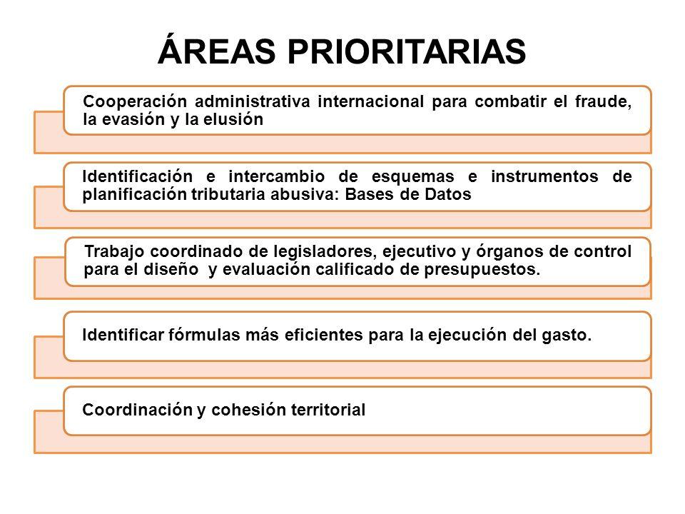 ÁREAS PRIORITARIAS Cooperación administrativa internacional para combatir el fraude, la evasión y la elusión Identificación e intercambio de esquemas