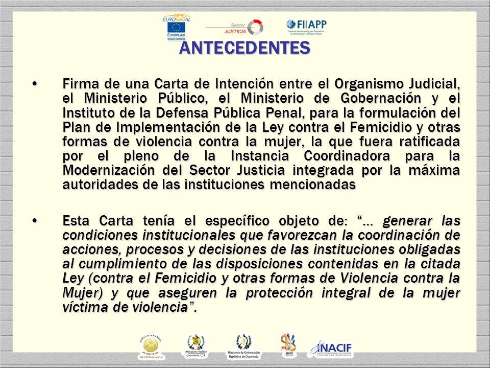 INSTITUCIONES PARTICIPANTES ORGANISMO JUDICIALORGANISMO JUDICIAL MINISTERIO PÚBLICOMINISTERIO PÚBLICO MINISTERIO DE GOBERNACIÓN (POLICIA NACIONAL CIVIL)MINISTERIO DE GOBERNACIÓN (POLICIA NACIONAL CIVIL) INSTITUTO DE LA DEFENSA PÚBLICA PENAL (ASISTENCIA LEGAL GRATUITA A VÍCTIMAS Y FAMILIARES)INSTITUTO DE LA DEFENSA PÚBLICA PENAL (ASISTENCIA LEGAL GRATUITA A VÍCTIMAS Y FAMILIARES) INSTITUTO NACIONAL DE CIENCIAS FORENSESINSTITUTO NACIONAL DE CIENCIAS FORENSES