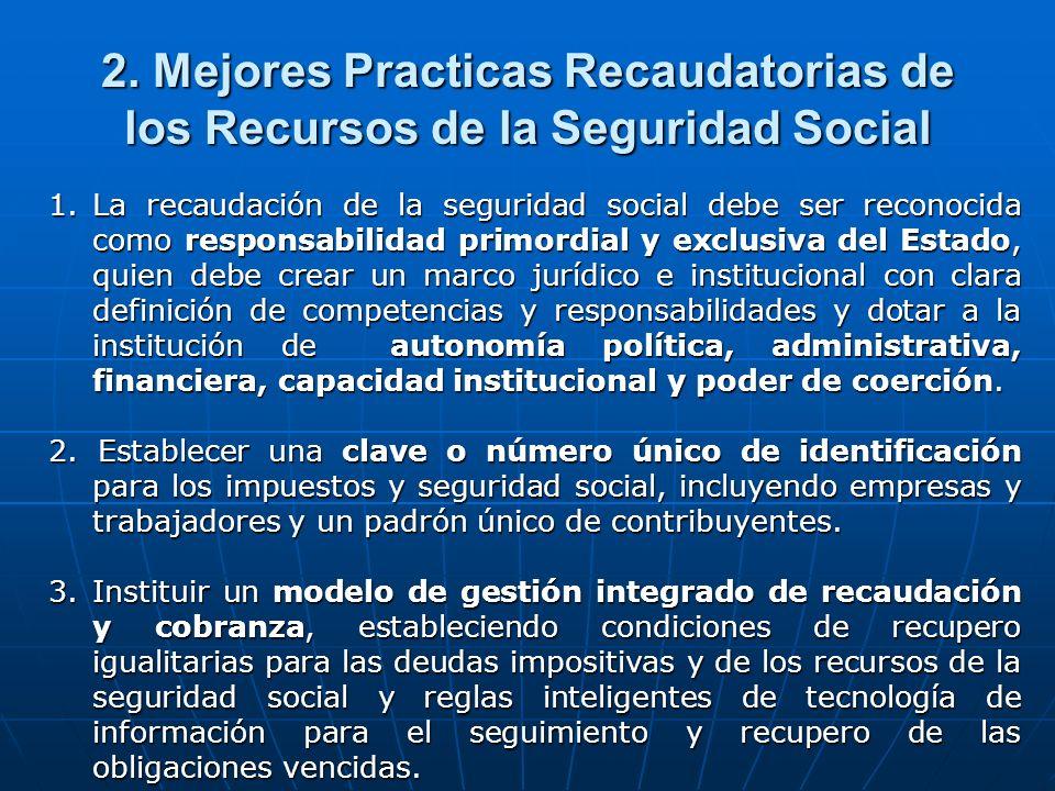 2. Mejores Practicas Recaudatorias de los Recursos de la Seguridad Social 1.La recaudación de la seguridad social debe ser reconocida como responsabil