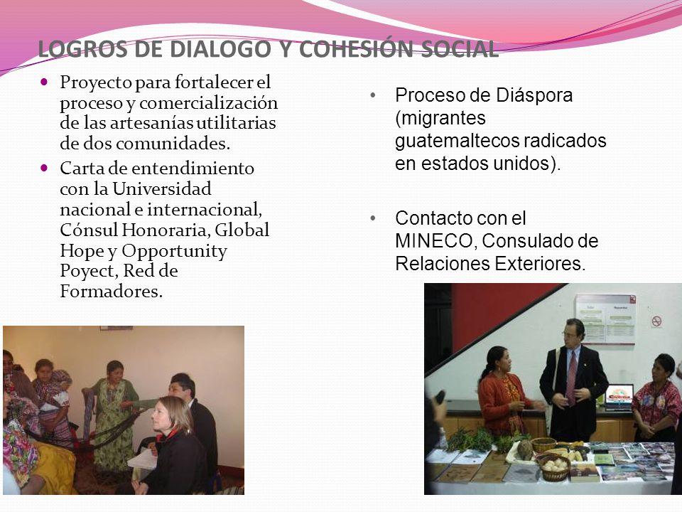 LOGROS DE DIALOGO Y COHESIÓN SOCIAL Proyecto para fortalecer el proceso y comercialización de las artesanías utilitarias de dos comunidades. Carta de