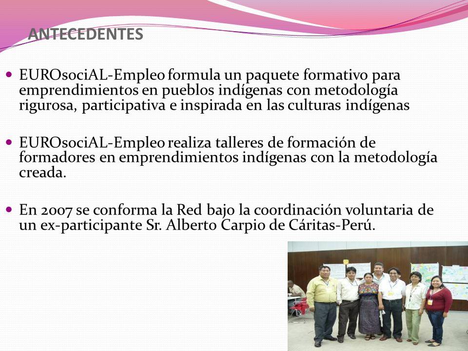 MIEMBROS 50 Profesionales de la formación en emprendimientos de pueblos indígenas que trabajan en ONG y organismos de gobierno: Argentina Bolivia Brasil Chile Colombia Ecuador Guatemala Honduras México Panamá Perú.