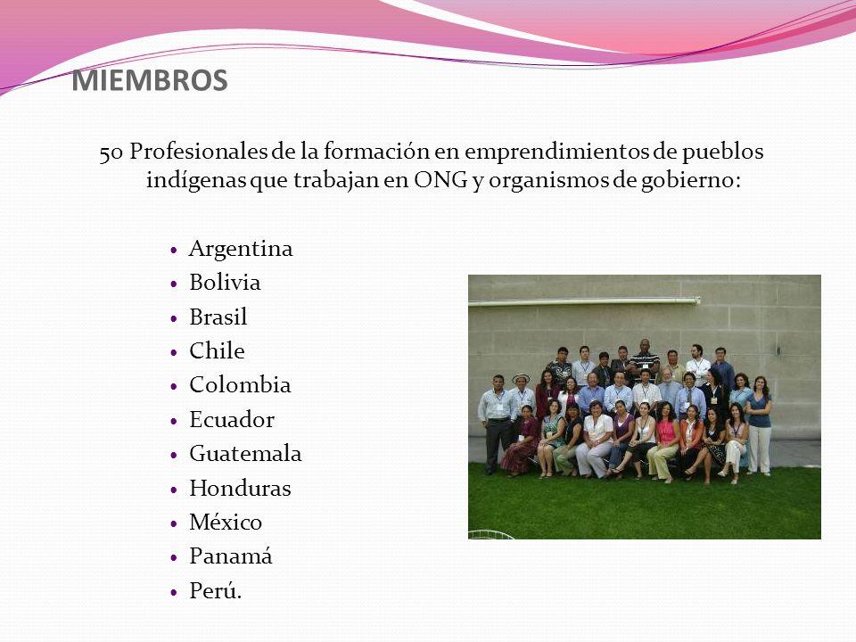 MIEMBROS 50 Profesionales de la formación en emprendimientos de pueblos indígenas que trabajan en ONG y organismos de gobierno: Argentina Bolivia Bras