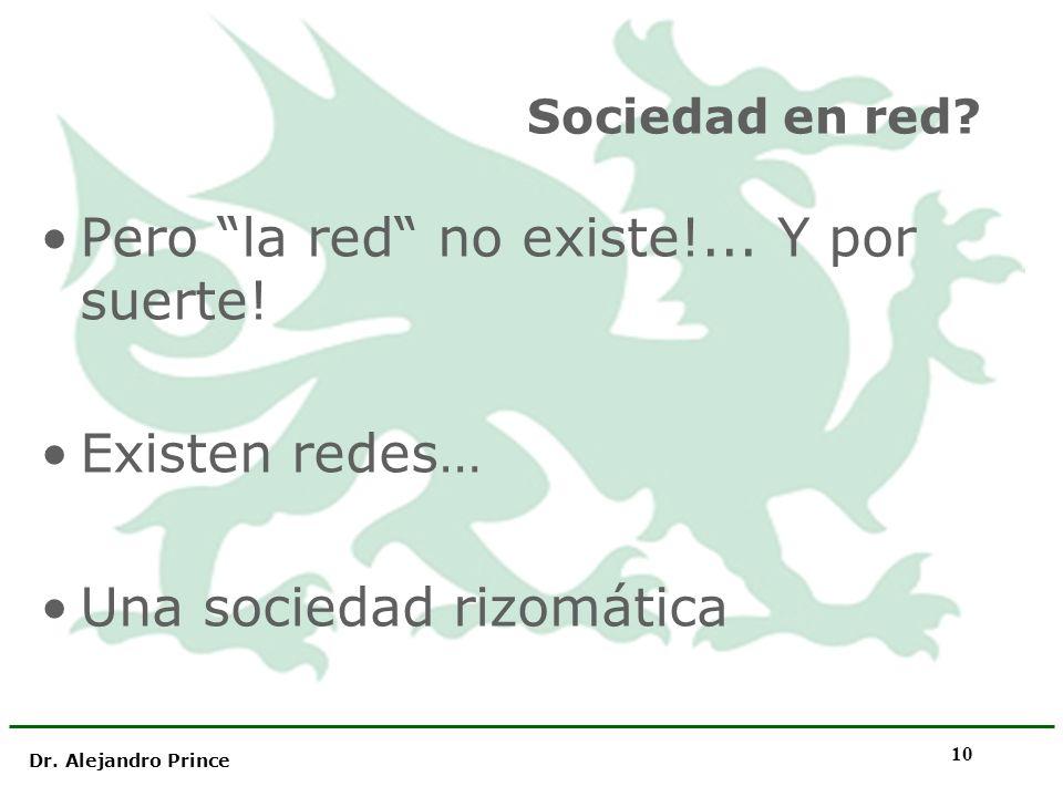 Dr. Alejandro Prince 10 Sociedad en red? Pero la red no existe!... Y por suerte! Existen redes… Una sociedad rizomática