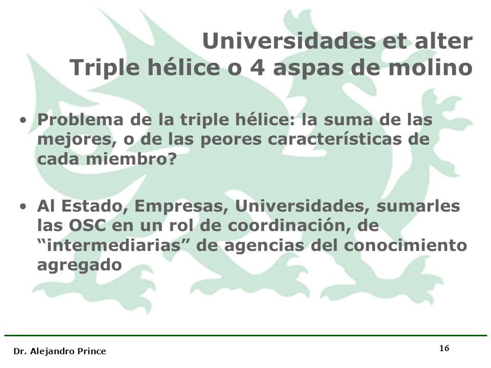 Dr. Alejandro Prince 16 Universidades et alter Triple hélice o 4 aspas de molino Problema de la triple hélice: la suma de las mejores, o de las peores