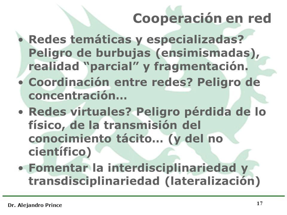 Dr. Alejandro Prince 17 Cooperación en red Redes temáticas y especializadas? Peligro de burbujas (ensimismadas), realidad parcial y fragmentación. Coo
