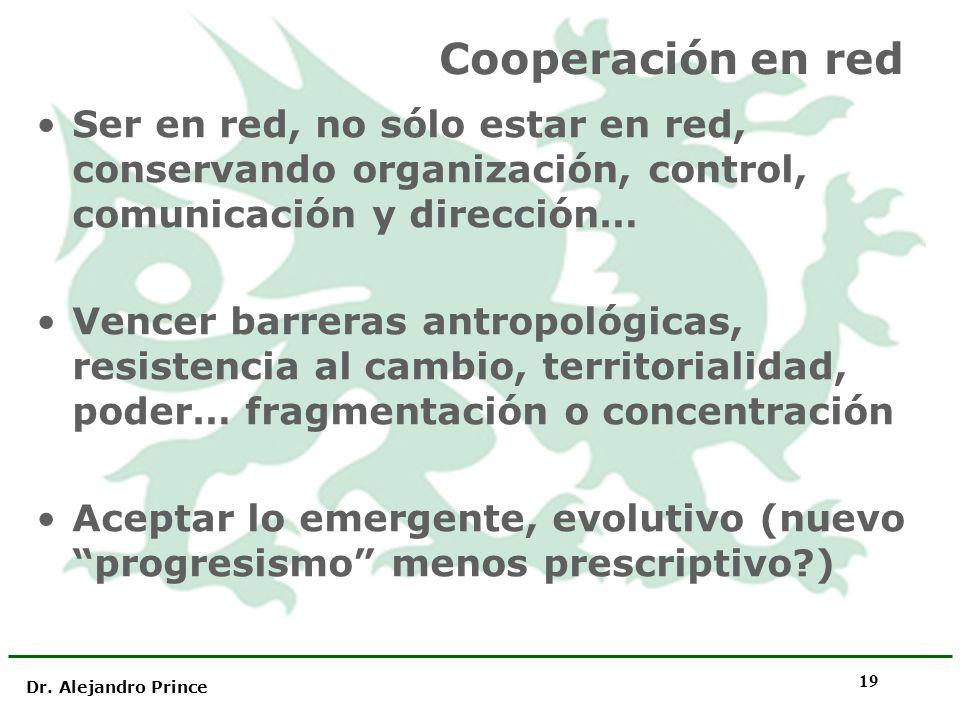 Dr. Alejandro Prince 19 Cooperación en red Ser en red, no sólo estar en red, conservando organización, control, comunicación y dirección… Vencer barre