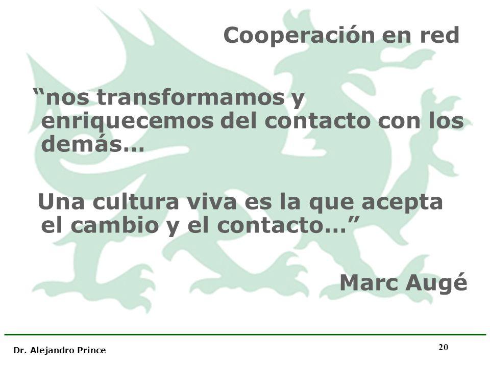 Dr. Alejandro Prince 20 Cooperación en red nos transformamos y enriquecemos del contacto con los demás… Una cultura viva es la que acepta el cambio y