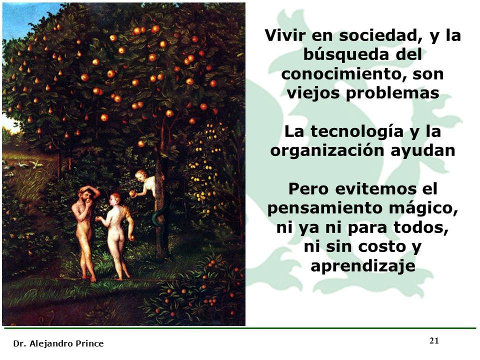 Dr. Alejandro Prince 21 Vivir en sociedad, y la búsqueda del conocimiento, son viejos problemas La tecnología y la organización ayudan Pero evitemos e