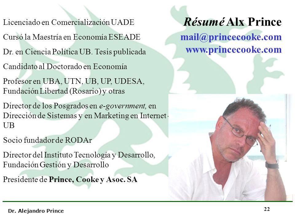 Dr. Alejandro Prince 22 Licenciado en Comercialización UADE Cursó la Maestría en Economía ESEADE Dr. en Ciencia Política UB. Tesis publicada Candidato