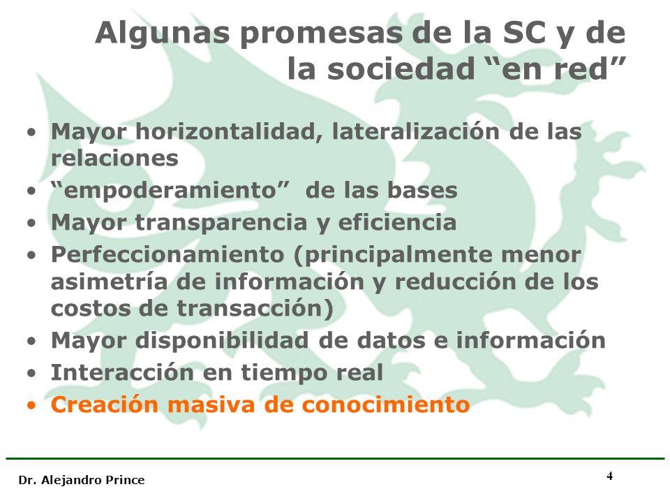 Dr. Alejandro Prince 4 Algunas promesas de la SC y de la sociedad en red Mayor horizontalidad, lateralización de las relaciones empoderamiento de las