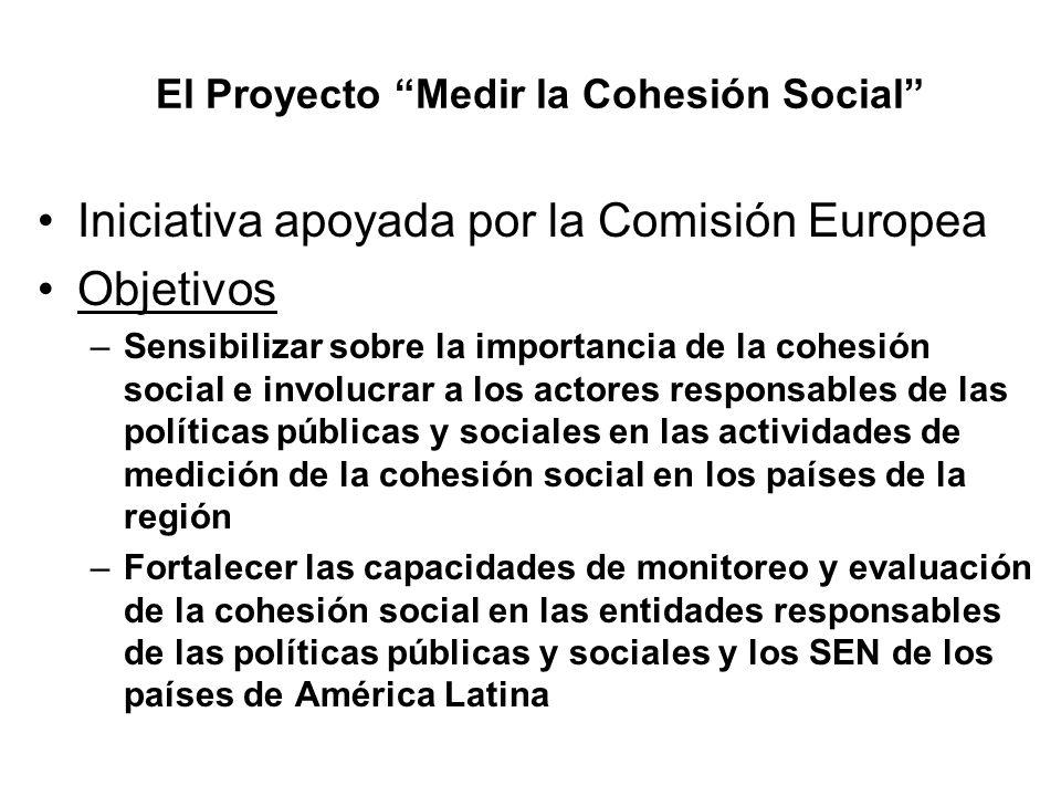 El Proyecto Medir la Cohesión Social Iniciativa apoyada por la Comisión Europea Objetivos –Sensibilizar sobre la importancia de la cohesión social e i