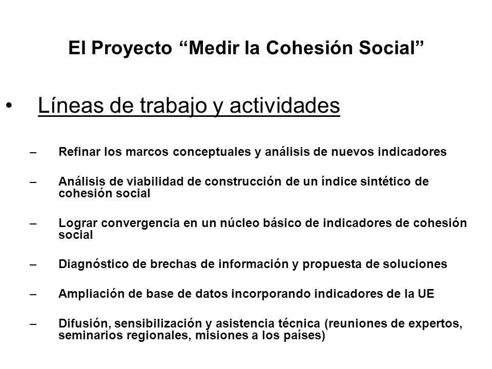 El Proyecto Medir la Cohesión Social Líneas de trabajo y actividades –Refinar los marcos conceptuales y análisis de nuevos indicadores –Análisis de vi