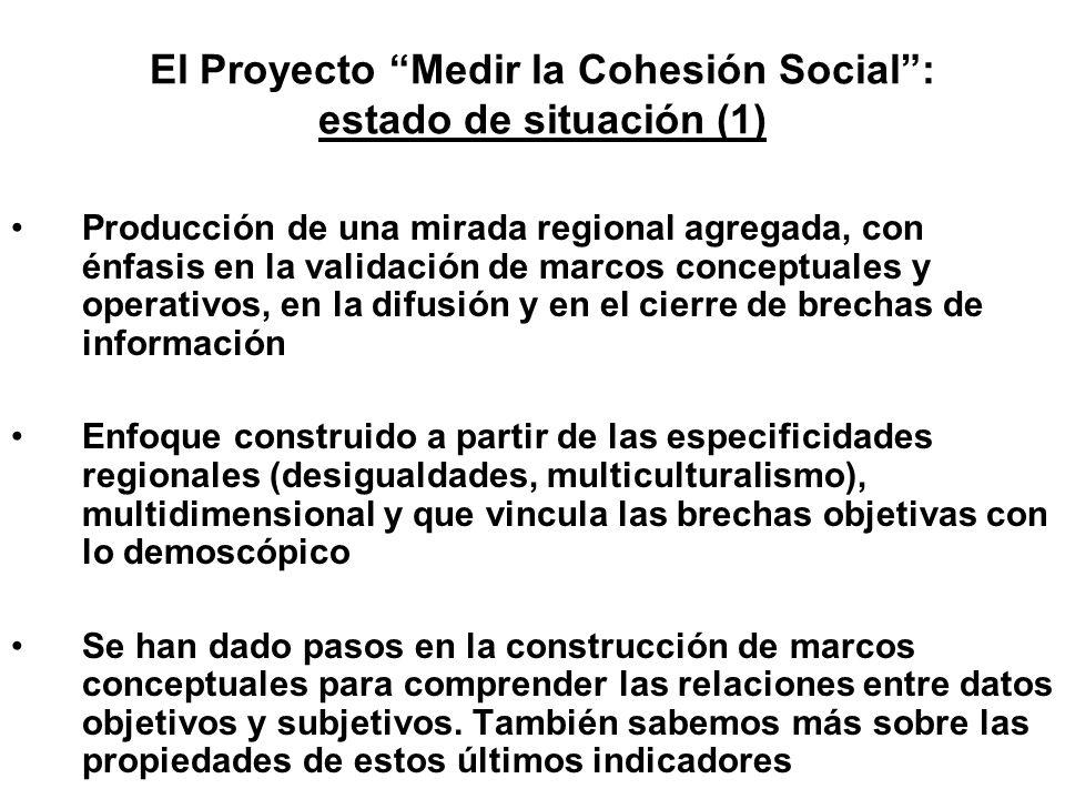 El Proyecto Medir la Cohesión Social: estado de situación (1) Producción de una mirada regional agregada, con énfasis en la validación de marcos conce