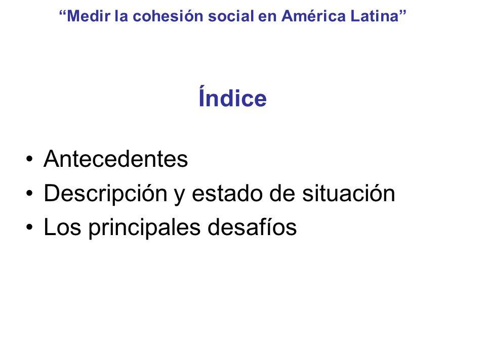 Medir la cohesión social en América Latina Índice Antecedentes Descripción y estado de situación Los principales desafíos