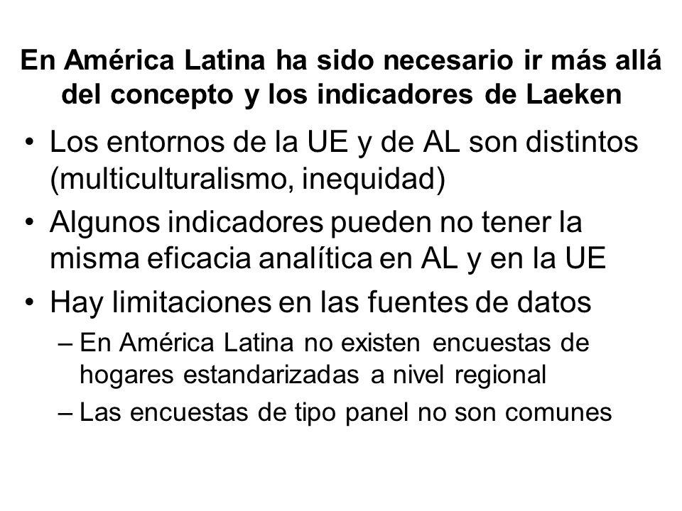 En América Latina ha sido necesario ir más allá del concepto y los indicadores de Laeken Los entornos de la UE y de AL son distintos (multiculturalism