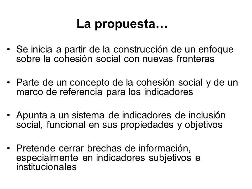La propuesta… Se inicia a partir de la construcción de un enfoque sobre la cohesión social con nuevas fronteras Parte de un concepto de la cohesión so