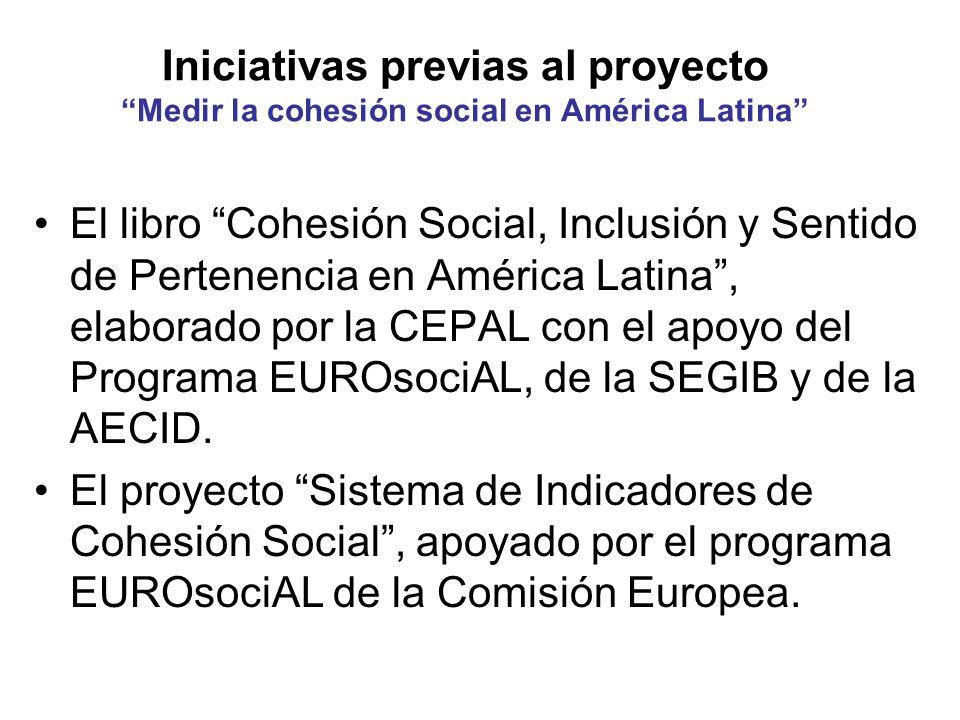 Iniciativas previas al proyecto Medir la cohesión social en América Latina El libro Cohesión Social, Inclusión y Sentido de Pertenencia en América Lat