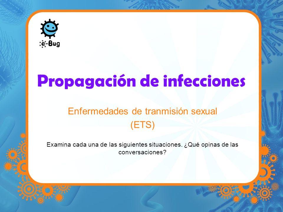 Propagación de infecciones Enfermedades de tranmisión sexual (ETS) Examina cada una de las siguientes situaciones. ¿Qué opinas de las conversaciones?