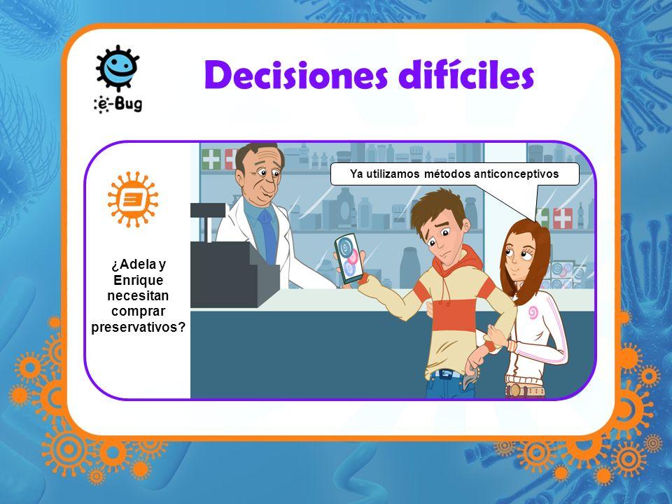 Decisiones difíciles Ya utilizamos métodos anticonceptivos ¿Adela y Enrique necesitan comprar preservativos?