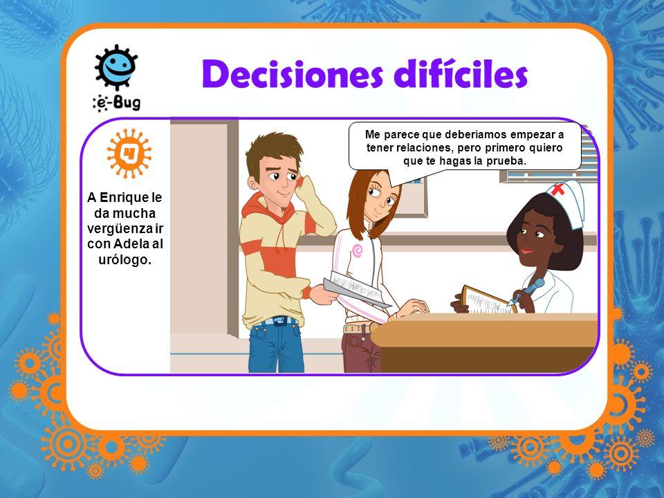 Decisiones difíciles A Enrique le da mucha vergüenza ir con Adela al urólogo. Me parece que deberíamos empezar a tener relaciones, pero primero quiero