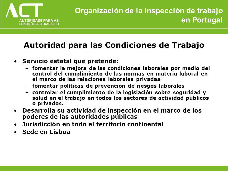 Organización de la inspección de trabajo en Portugal Autoridad para las Condiciones de Trabajo Servicio estatal que pretende: –fomentar la mejora de l
