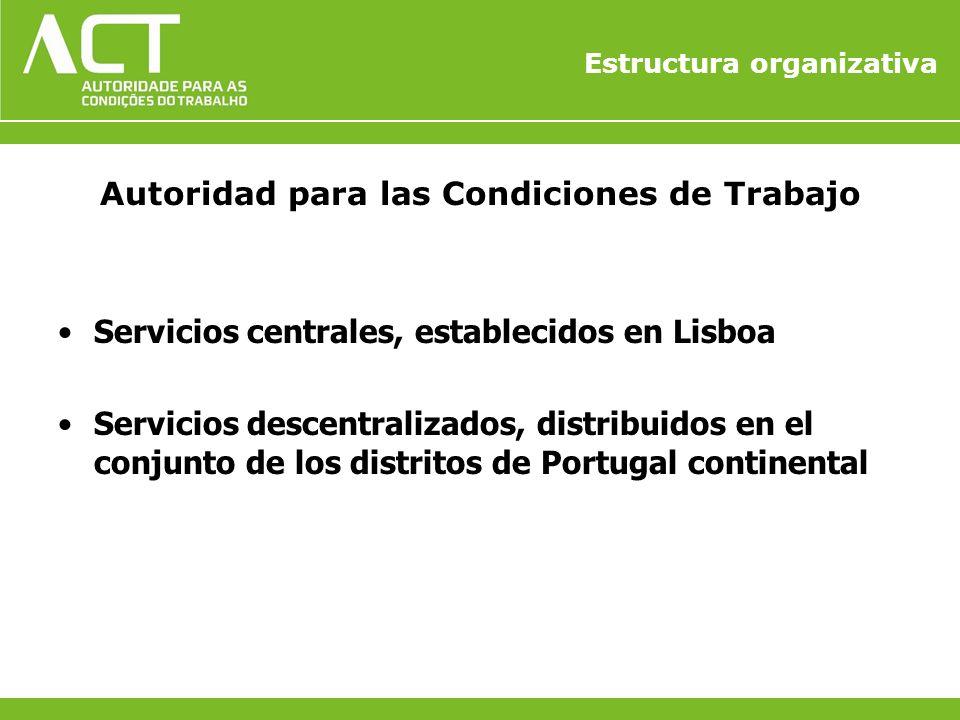 Estructura organizativa Autoridad para las Condiciones de Trabajo Servicios centrales, establecidos en Lisboa Servicios descentralizados, distribuidos