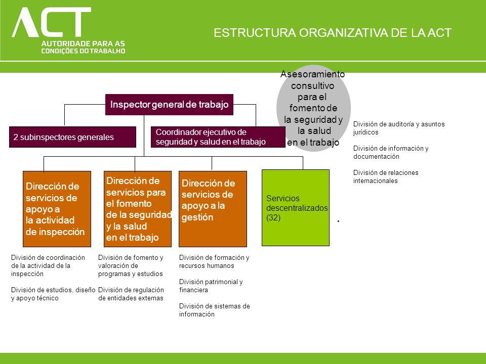 Asesoramiento consultivo para el fomento de la seguridad y la salud en el trabajo Inspector general de trabajo 2 subinspectores generales Coordinador