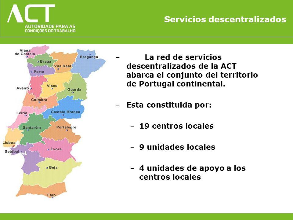 Servicios descentralizados –La red de servicios descentralizados de la ACT abarca el conjunto del territorio de Portugal continental. –Esta constituid