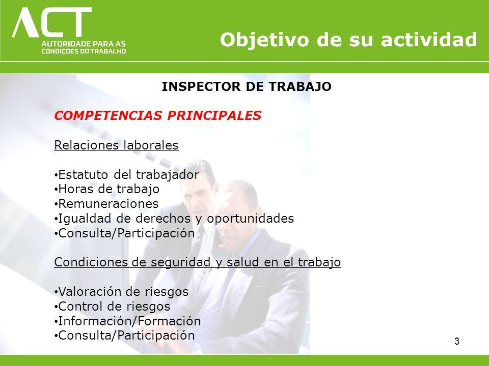 INSPECTOR DE TRABAJO COMPETENCIAS PRINCIPALES Relaciones laborales Estatuto del trabajador Horas de trabajo Remuneraciones Igualdad de derechos y opor