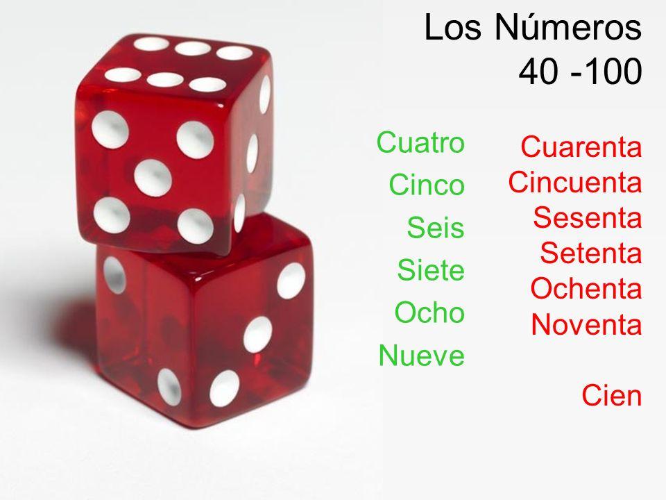 Los Números 40 -100 Cuarenta Cincuenta Sesenta Setenta Ochenta Noventa Cien Cuatro Cinco Seis Siete Ocho Nueve