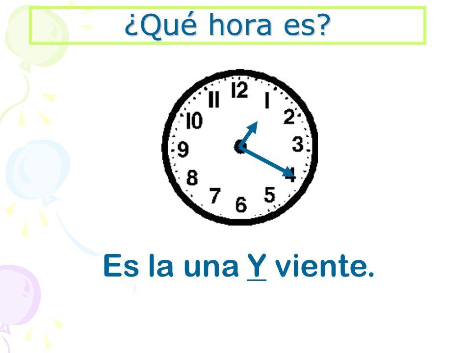 ¿Qué hora es? Es la una Y viente.