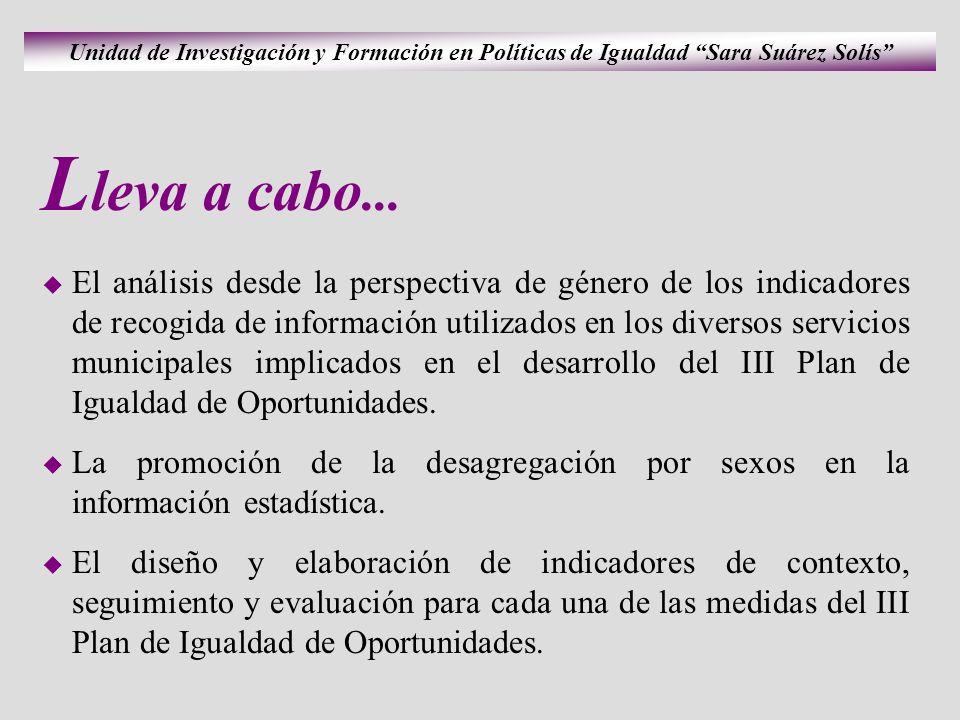 Unidad de Investigación y Formación en Políticas de Igualdad Sara Suárez Solís L leva a cabo...