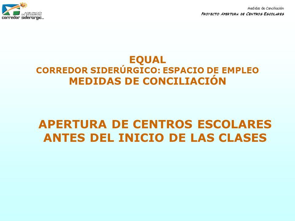 EQUAL CORREDOR SIDERÚRGICO: ESPACIO DE EMPLEO MEDIDAS DE CONCILIACIÓN APERTURA DE CENTROS ESCOLARES ANTES DEL INICIO DE LAS CLASES